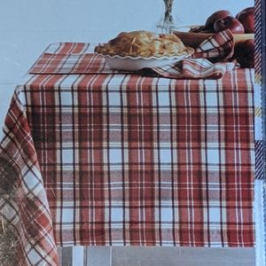 New farmhouse red plaid tablecloth 60 x 84